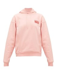 Martine Rose Logo Embroidered Cotton Jersey Hooded Sweatshirt Pink