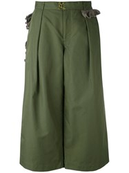 Kolor Cropped Wide Leg Trousers Women Cotton Nylon Polyester 3 Green