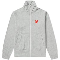 Comme Des Garcons Play 'S Red Heart Zip Backprint Track Top Grey