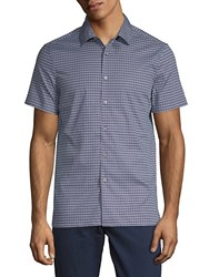 Perry Ellis Geometric Short Sleeve Button Down Shirt Ink
