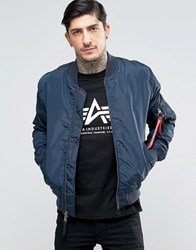 Alpha Industries Ma 1 Bomber Jacket Slim Fit In Navy Ny1 Navy 1
