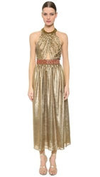 Tamara Mellon Halter Dress With Beaded Waist Gold