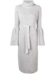 Eleventy Bell Sleeves Knitted Dress Grey