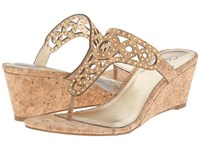 Adrianna Papell Ceci Gold Sparkle Cork Women's Wedge Shoes Brown