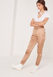 Missguided Satin Cuffed Joggers Rose Gold Pink