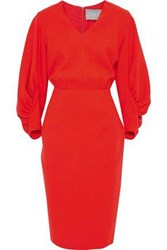 Lela Rose Woman Ruched Stretch Wool Crepe Dress Tomato Red