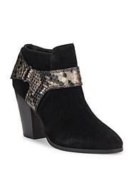 Donald J Pliner Almond Toe Leather Ankle Boots Black