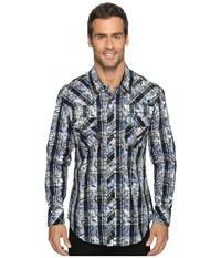 Rock And Roll Cowboy Long Sleeve Snap B2s8406 Blue Men's Long Sleeve Button Up