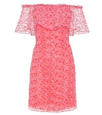 Giamba Embroidered Organza Off The Shoulder Dress