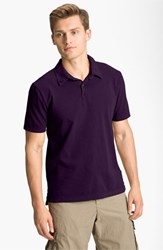 James Perse Men's Trim Fit Sueded Jersey Polo Eggplant