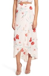 Leith Wrap Maxi Skirt Pink Silver Floral