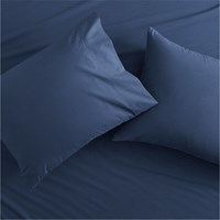 Cb2 Set Of 2 Standard Organic Navy Percale Pillowcases