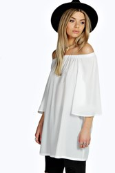 Boohoo Off The Shoulder Woven Tunic White