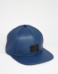 Asos Snapback Cap In Blue Faux Leather Blue
