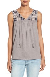 Women's Caslon Embroidered Boho Tank Grey Navy Embroidery