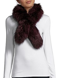 Surell Dyed Fox Fur Scarf Wine