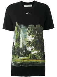 Off White 'Countryside' T Shirt Women Silk Cotton Viscose Xxs Black