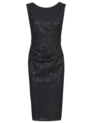 Jolie Moi Lace Bonded Sequin Shift Dress Black