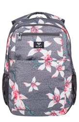 Roxy Here You Are Backpack Grey Charcoal Heather Flower Field