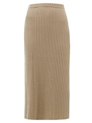 Allude Rib Knitted Cashmere Midi Skirt Brown