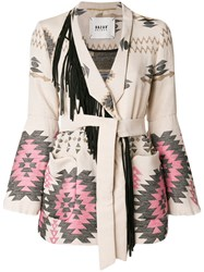 Bazar Deluxe Embroidered V Neck Jacket Nude And Neutrals