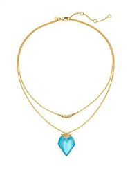 Alexis Bittar Lucite And Swarovski Crystal Double Layered Pendant Necklace Turquoise