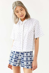 Native Youth Scratch Print Cropped Button Down Shirt White