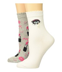 Betsey Johnson 2 Pack Anklets Embroidery Lurex Crew Cut Socks Shoes Multi