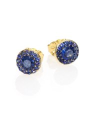 Ila Ceylon Lettice Blue Sapphire And 14K Yellow Gold Stud Earrings Gold Blue