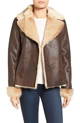 Vince Camuto Women's Faux Shearling Coat Brown
