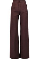 Mother Of Pearl Piped Wool Pique Wide Leg Pants Red