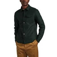 Barneys New York Wool Blend Felt Shirt Jacket Green