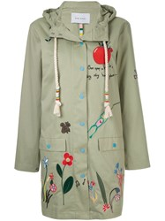 Mira Mikati Embroidered Hooded Coat Green