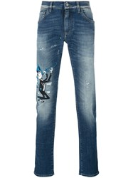 Dolce And Gabbana Musical Patch Slim Fit Jeans Blue