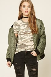 Forever 21 Camo Print Tee Taupe Olive