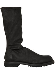 Rick Owens 30Mm Destroyed Stretch Leather Boots
