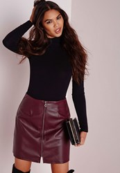 Missguided Zip Front Faux Leather A Line Skirt Burgundy