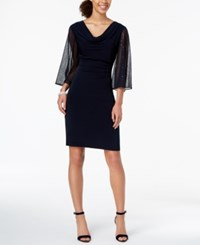 Connected Cowl Neck Statement Sleeve Dress Navy