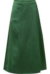Theory Draped Skirt Effect Hammered Satin Wide Leg Pants Emerald