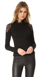 Amanda Uprichard Lace Mock Neck Top Black