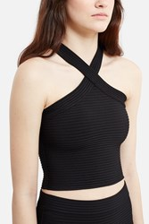 Alexander Wang Flat Back Rib Knit Criss Cross Tank Black