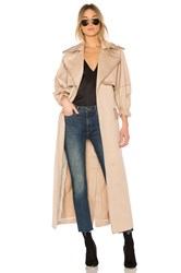 Michael Lo Sordo Relaxed Cocoon Trench With Contrast Stitch Beige