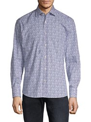 Bertigo Printed Cotton Button Down Shirt Blue