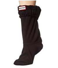 Hunter 6 Stitch Cable Boot Sock Short Black Women's Crew Cut Socks Shoes