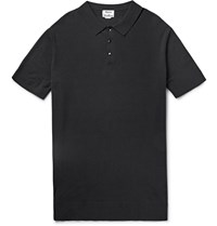 Acne Studios Koin Knitted Cotton Polo Shirt Black