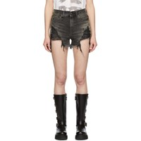 R 13 R13 Black Shredded Slouch Shorts