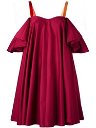 Anna October Ruffle Sleeve Cold Shoulder Dress Red