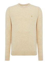 Farah Men's Rosecroft Crew Neck Lambswool Logo Jumper Oatmeal