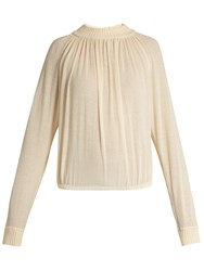 Christophe Lemaire Cotton Blend Crepe Sweater Cream
