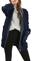 Topshop Women's Urban Mixed Media Bomber Coat